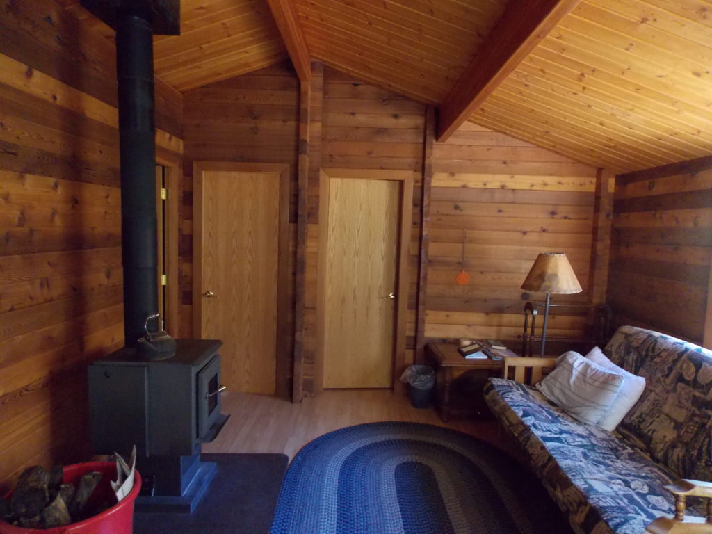 Inside one of our cozy cabins!